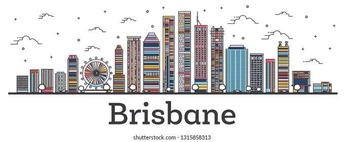 Outline Brisbane Australia City Skyline with Color Buildings Isolated on White. Vector Illustration. Brisbane Cityscape with Landmarks.