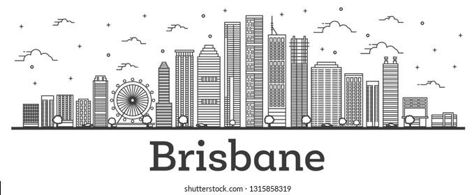 Outline Brisbane Australia City Skyline with Modern Buildings Isolated on White. Vector Illustration. Brisbane Cityscape with Landmarks.
