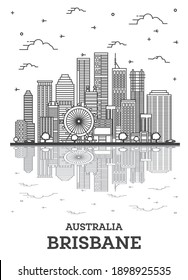 Outline Brisbane Australia City Skyline with Modern Buildings and Reflections Isolated on White. Vector Illustration. Brisbane Cityscape with Landmarks.