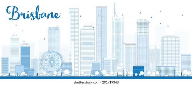 Outline Brisbane skyline with blue building. Vector illustration. Business travel and tourism concept with modern buildings. Image for presentation, banner, placard and web site.