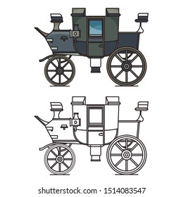 Outline for britzchka or isolated carriage icon. Chariot for transportation or buggy vehicle, waggon with wheels, dormeuse, perth-cart or classic cart. Vintage and retro theme