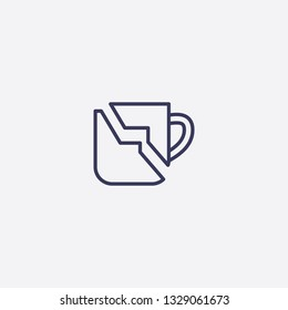 Outline broken tea cup icon illustration isolated vector sign symbol