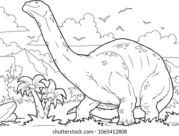 Outline Brontosaurus Dinosaur Illustration, Coloring page, A4
