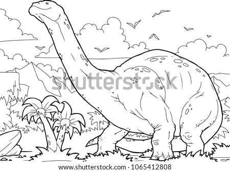 Outline Brontosaurus Dinosaur Illustration Coloring Page Stock