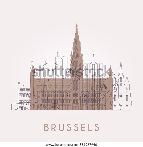 Outline Brussel. Vintage skyline with landmarks. Vector illustration. Business travel and tourism concept with historic buildings. Image for presentation, banner, placard and web site.