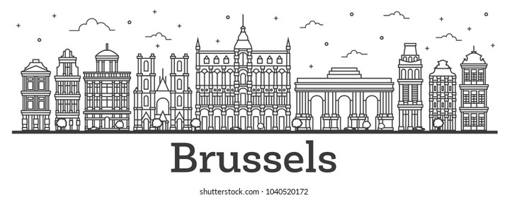 Outline Brussels Belgium City Skyline with Historic Buildings Isolated on White. Vector Illustration. Brussels Cityscape with Landmarks.
