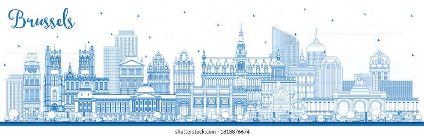 Outline Brussels Belgium City Skyline with Blue Buildings. Vector Illustration. Brussels Cityscape with Landmarks. Business Travel and Tourism Concept with Historic Architecture.