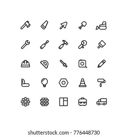 Outline Building Work Construction Icons