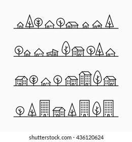 Outline buildings and trees in line, 4 different styles, small city, town or village, vector illustration graphic