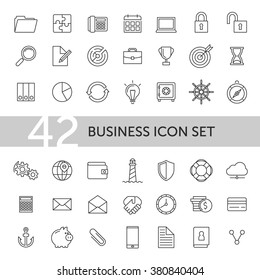 Outline business icon set