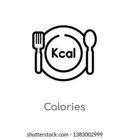 outline calories vector icon. isolated black simple line element illustration from food concept. editable vector stroke calories icon on white background