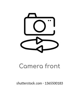 outline camera front vector icon. isolated black simple line element illustration from miscellaneous concept. editable vector stroke camera front icon on white background