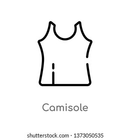 outline camisole vector icon. isolated black simple line element illustration from clothes concept. editable vector stroke camisole icon on white background