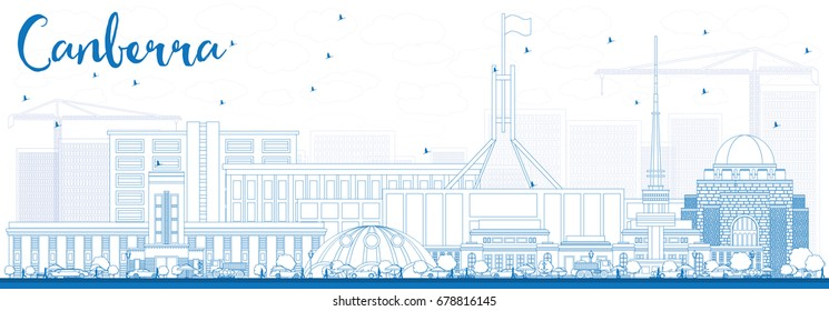 Outline Canberra Skyline with Blue Buildings. Vector Illustration. Business Travel and Tourism Concept with Modern Architecture. Image for Presentation Banner Placard and Web Site.