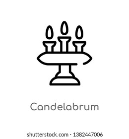 outline candelabrum vector icon. isolated black simple line element illustration from furniture and household concept. editable vector stroke candelabrum icon on white background