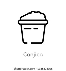outline canjica vector icon. isolated black simple line element illustration from food concept. editable vector stroke canjica icon on white background
