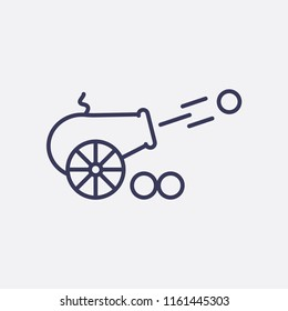 Outline cannon icon illustration,vector  weapon sign symbol