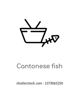 outline cantonese fish vector icon. isolated black simple line element illustration from culture concept. editable vector stroke cantonese fish icon on white background