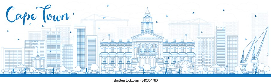 Outline Cape town skyline with blue buildings. Vector illustration. Business travel and tourism concept with modern buildings. Image for presentation, banner, placard and web site.