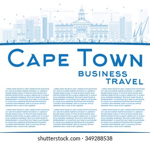 Outline Cape Town skyline with blue buildings and copy space. Vector illustration. Business travel and tourism concept with place for text. Image for presentation, banner, placard and web site.
