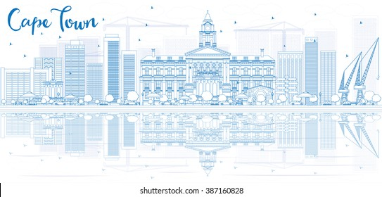 Outline Cape town skyline with blue buildings and reflection. Vector illustration. Business travel and tourism concept with place for text. Image for presentation, banner, placard and web site.