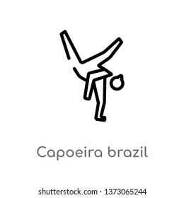 outline capoeira brazil dancers vector icon. isolated black simple line element illustration from culture concept. editable vector stroke capoeira brazil dancers icon on white background