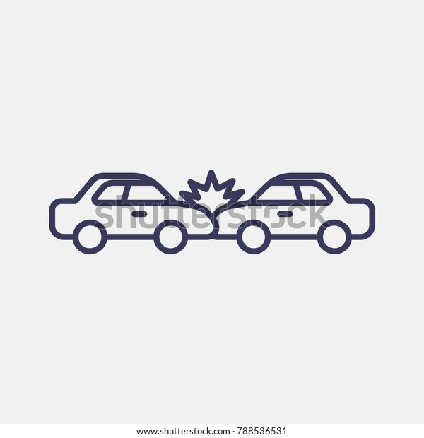 Outline Car Accident Icon Illustration Isolated Stock Vector
