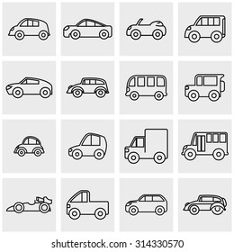 Outline car vector icons set on gray
