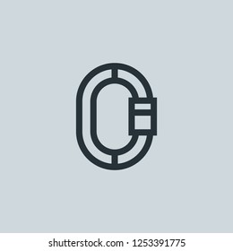 Outline carabiner vector icon. Carabiner illustration for web, mobile apps, design. Carabiner vector symbol.