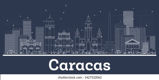 Outline Caracas Venezuela City Skyline with White Buildings. Vector Illustration. Business Travel and Tourism Concept with Historic Architecture. Caracas Cityscape with Landmarks.