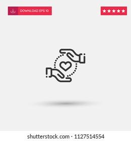 Outline Care Icon isolated on grey background. Modern simple flat symbol for web site design, logo, app, UI. Editable stroke. Vector illustration. Eps10