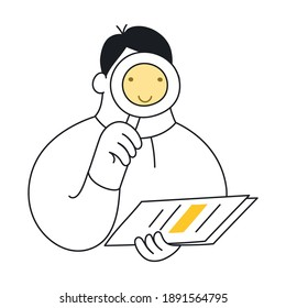 Outline cartoon man with a loupe and report making research, he looking for something in the document. Marketing, audit, analysis, investigation, or mentoring concept.
