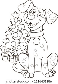 outline of cartoon smiling red dog with christmas tree. Vector illustration, winters coloring book for kids.