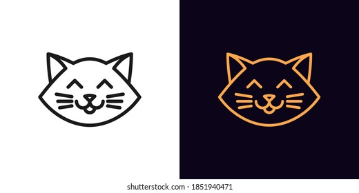 Outline cat head, icon with editable stroke. Linear kitten face with whiskers, cute and funny cat emoji. Outline silhouette of cartoon kitten. Vector icon, sign, symbol for UI and Animation