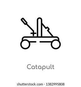 outline catapult vector icon. isolated black simple line element illustration from miscellaneous concept. editable vector stroke catapult icon on white background