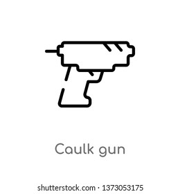 outline caulk gun vector icon. isolated black simple line element illustration from construction and tools concept. editable vector stroke caulk gun icon on white background
