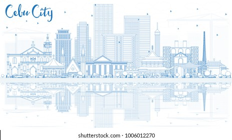 Outline Cebu City Philippines Skyline with Blue Buildings and Reflections. Vector Illustration. Business Travel and Tourism Illustration with Modern Architecture. Cebu City Cityscape with Landmarks.