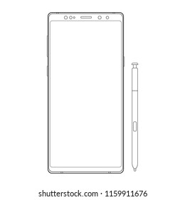 Outline cellphone with stylus isolated on white background. Vector illustration