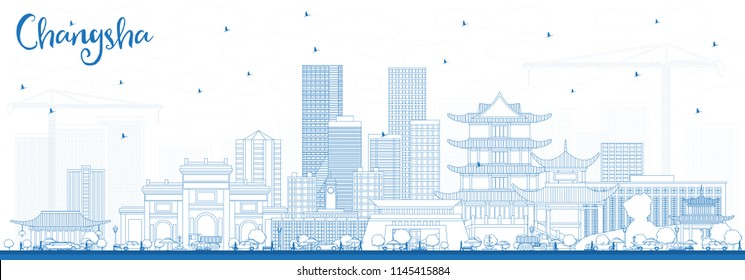 Outline Changsha China City Skyline with Blue Buildings. Vector Illustration. Business Travel and Tourism Concept with Modern Architecture. Changsha Cityscape with Landmarks.