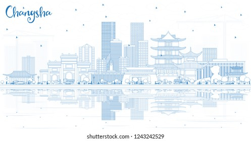 Outline Changsha China City Skyline with Blue Buildings and Reflections. Vector Illustration. Business Travel and Tourism Concept with Modern Architecture. Changsha Cityscape with Landmarks.