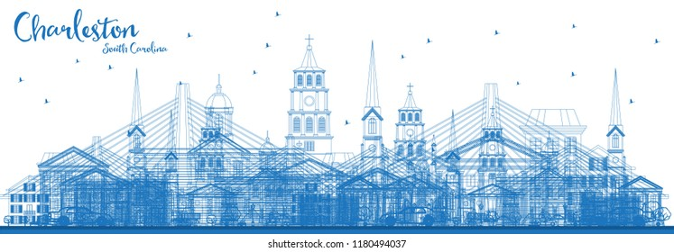Outline Charleston South Carolina Skyline with Blue Buildings. Vector Illustration. Business Travel and Tourism Illustration with Historic Architecture. Charleston Cityscape with Landmarks.