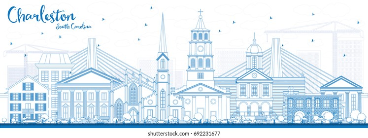 Outline Charleston South Carolina Skyline with Blue Buildings. Vector Illustration. Business Travel and Tourism Illustration with Historic Architecture.
