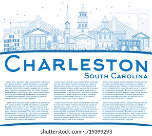 Outline Charleston South Carolina Skyline with Blue Buildings and Copy Space. Vector Illustration. Business Travel and Tourism Illustration with Historic Architecture.