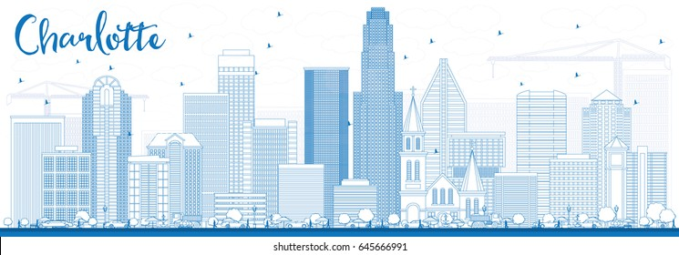 Outline Charlotte Skyline with Blue Buildings. Vector Illustration. Business Travel and Tourism Concept with Modern Architecture. Image for Presentation Banner Placard and Web Site.
