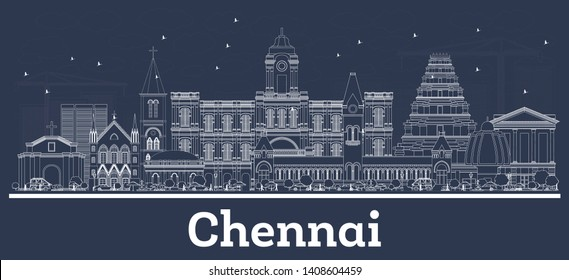 Outline Chennai India City Skyline with White Buildings. Vector Illustration. Business Travel and Tourism Concept with Historic Architecture. Chennai Cityscape with Landmarks.