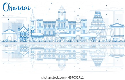 Outline Chennai Skyline with Blue Landmarks and Reflections. Vector Illustration. Business Travel and Tourism Concept with Historic Buildings. Image for Presentation Banner Placard and Web Site.