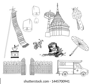Outline Chiang Mai Thailand symbol and landmark  vector.