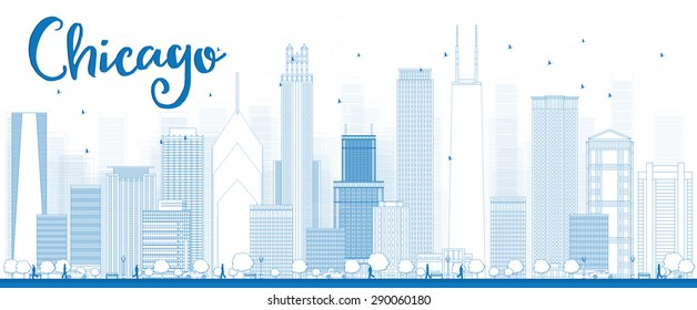 Outline Chicago city skyline with blue skyscrapers. Vector illustration. Business travel and tourism concept with modern building. Image for presentation, banner, placard and web site