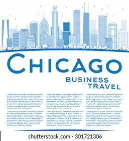 Outline Chicago city skyline with blue skyscrapers and copy space. Business travel concept. Vector illustration. Business and tourism concept with place for text. Image for presentation or banner