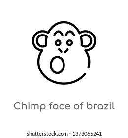 outline chimp face of brazil vector icon. isolated black simple line element illustration from culture concept. editable vector stroke chimp face of brazil icon on white background